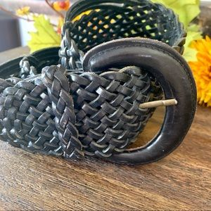 Express Black Leather Woven Belt